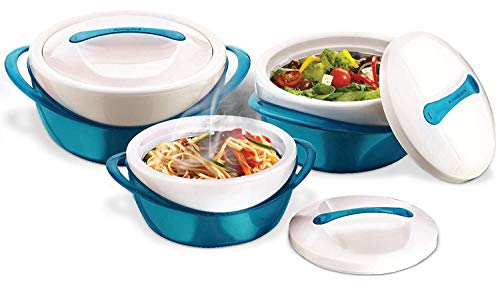 Color Casserole - Pinnacle Casserole Dish - Large Soup and Salad Bowl Set - Insulated Serving Bowl With Lid - 3 Pc. Set Teal