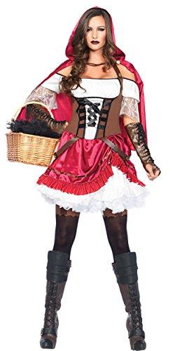 Rebel Riding Hood Adult Womens Costumes (UHC Rebel Little Red Riding Hood Fairytale Adult Womens Halloween Fancy Costume, M (8-10))