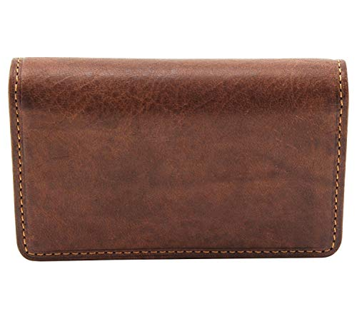 Tony Perotti Unisex Italian Cow Leather Front Pocket Business and Credit Card Case Wallet in Cognac