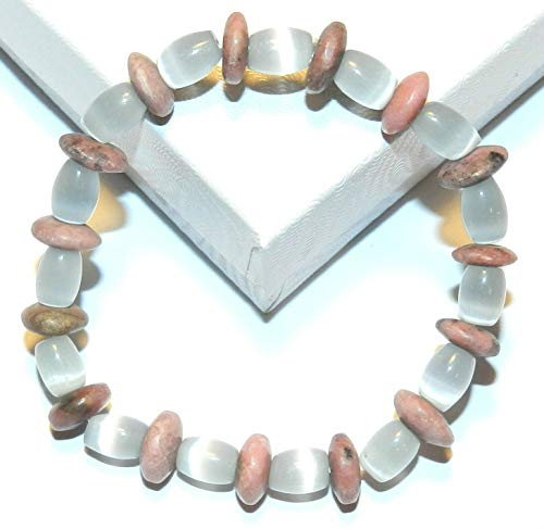 Pink Rhodonite Blue Cats Eye Glass Gemstone 7 Stretch Bead Bracelet #ID-6767