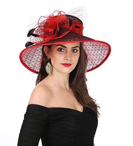 SAFERIN Women's Organza Church Kentucky Derby Fascinator Bridal Tea Party Wedding Hat (SL-Red Black)