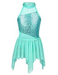 Turquoise Sequins Halterneck Leotard with Irregular Skirt