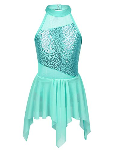 Alvivi Girls Lyrical Dance Dress Modern Contemporary Costumes Sequins Halterneck Leotard with Irregular Skirt Cutout Back Turquoise ()
