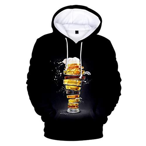 AHAYAKU Men's Tops Beer Festival 3D Printing Long Sleeve Hoodies Sweatershirt Tops 2019 New Black (Best Paintball Jersey 2019)