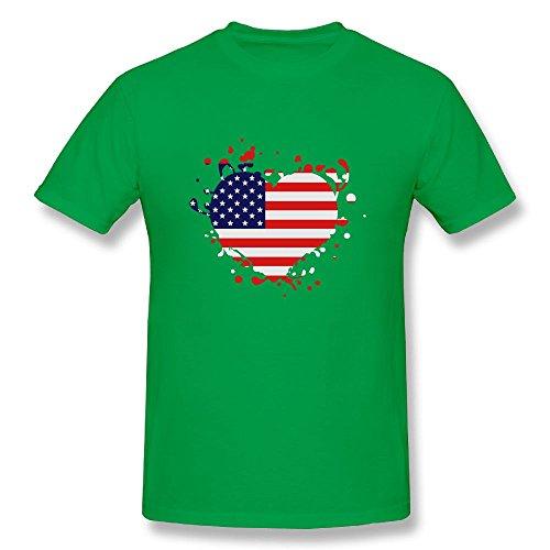Richard-L Mens T Shirts-Classic Flag Heart US United States America Superball Kellygreen - Match Price Golf Galaxy
