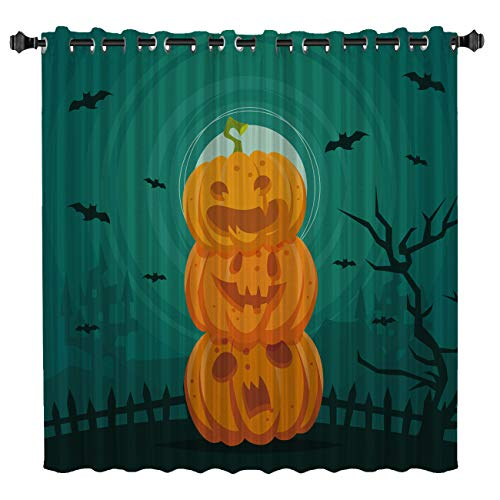 Queen Area Blackout Curtains for Bedroom Room Darkening Thermal Insulated Curtains for Living Room Halloween Bat at Night Printed Energy Saving Drapes One Panel 52