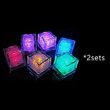 life up 2 sets colorful changing led liquid sensor cube shape lights