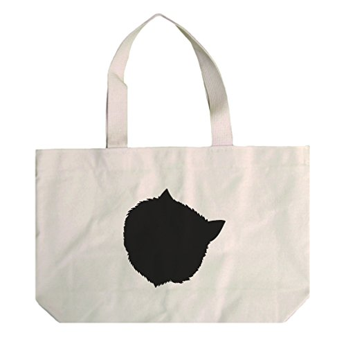 Cotton Natural Canvas Beach Tote Himalayan Cat Head Silhouette By Style In - Cat Silhouette Head