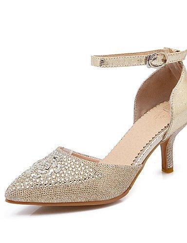 ZQ Zapatos de mujer-Tac¨®n Stiletto-Tacones / Puntiagudos-Tacones-Boda / Vestido / Fiesta y Noche-Vell¨®n / Purpurina-Negro / Rojo / Plata / , golden-us10.5 / eu42 / uk8.5 / cn43 , golden-us10.5 / eu4 golden-us4-4.5 / eu34 / uk2-2.5 / cn33