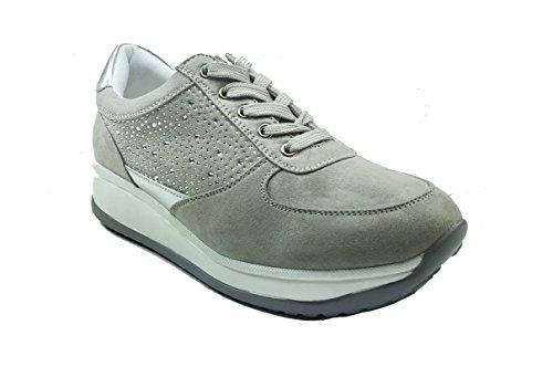 MUDS - Zapatos de cordones de piel sintética para mujer gris
