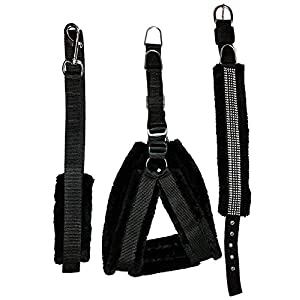 Pets Planet Adjustable Dog Harness Collar and Leash Set with Soft Fur Combo, 0.75 Inch (65-52 cm) Small Black