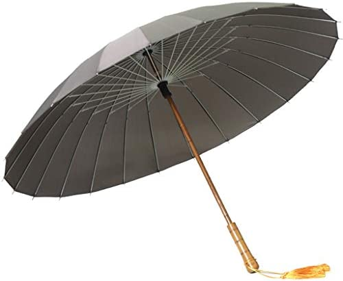 GR5AS レトロな木製ストレートハンドル傘24骨傘は風と雨傘スタンド (Color : B)