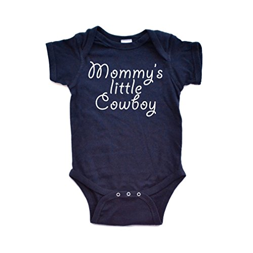 Apericots Mommy's Little Cowboy Adorable Cute Baby Soft Cotton Country Western Boy Creeper (Newborn, Navy Blue)