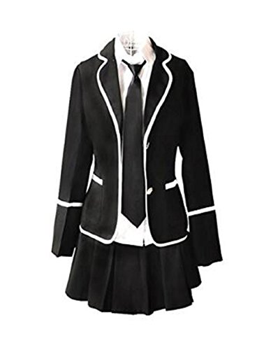 Evalent Japanese Anime Clothes Classic Navy Sailor Suit Short Sleeve Girl Students School Uniforms White (L, Black)]()
