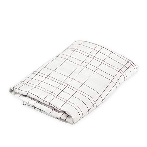 (Oliver & Rain - Organic Cotton Muslin Purple Plaid Stripe Print Swaddle Blanket, NB)