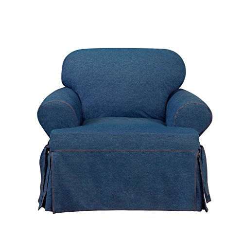 Sure Fit Authentic Denim One Piece T-cushion Chair Slipcover - ()