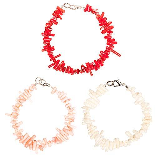 Coral Flower Natural Pink (TOMLEE 3pcs/Set Natural Coral Chain Bracelet Red Pink White Coral Bracelets for Women (OB073-color-3))