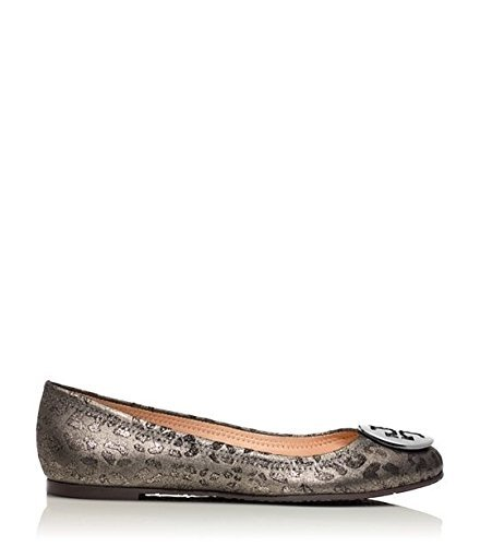 - Tory Burch Powder Cheetah Print Reva Logo Ballet Flats, Anthracite/Metallic Gray (9.5)