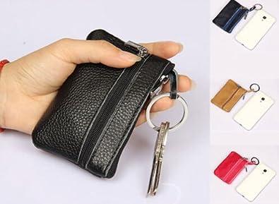 Amazon.com: Monedero de piel con cremallera para llaves ...