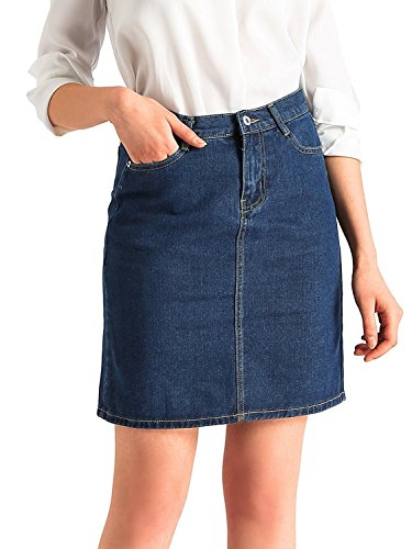 Beluring Womens Denim Jeans Bodycon Midi Skirt with Pockets Dark Blue Size 2