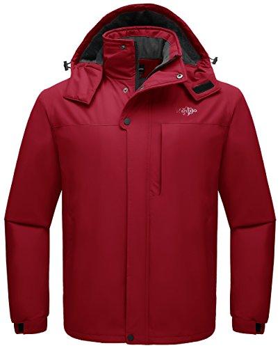 Wantdo Men's Winter Ski Jacket Hooded Rainwear Windproof Snowboard Coat Red S ()