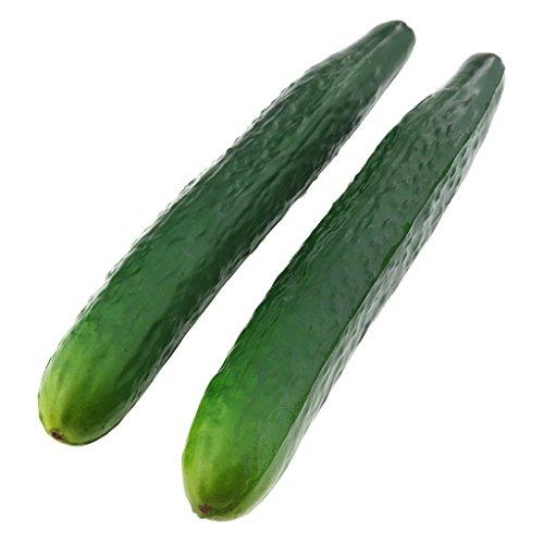 Gresorth 2 Pcs Soft PU Material Artificial Lifelike Green Cucumber Fake Vegetable Decoration by Gresorth