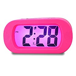 Girls Alarm Clock, Samshow Desk Clock, Travel Alarm Clock, Portable Clock, Simple Setting, Snooze Light, Shockproof, Large LED Screen, Progressively Louder Wake Alarm Clock, Battery Powered (Pink)