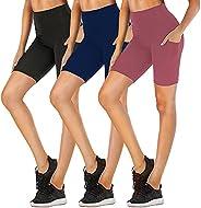 "FULLSOFT 8"" Biker Shorts for Women High Waist with Pockets - Workout Shorts for Running Yoga Ath"