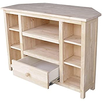 International Concepts Unfinished Corner Entertainment/TV Stand, Brown