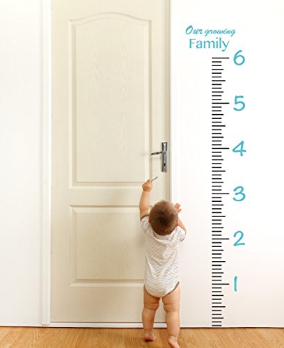 Giant Vinyl Growth Chart Kit | Kids DIY Height Wall Ruler Large Measuring Tape Sticker Number Decal Sticker (Geyser Blue, 73x23 inches) by The Decal Guru