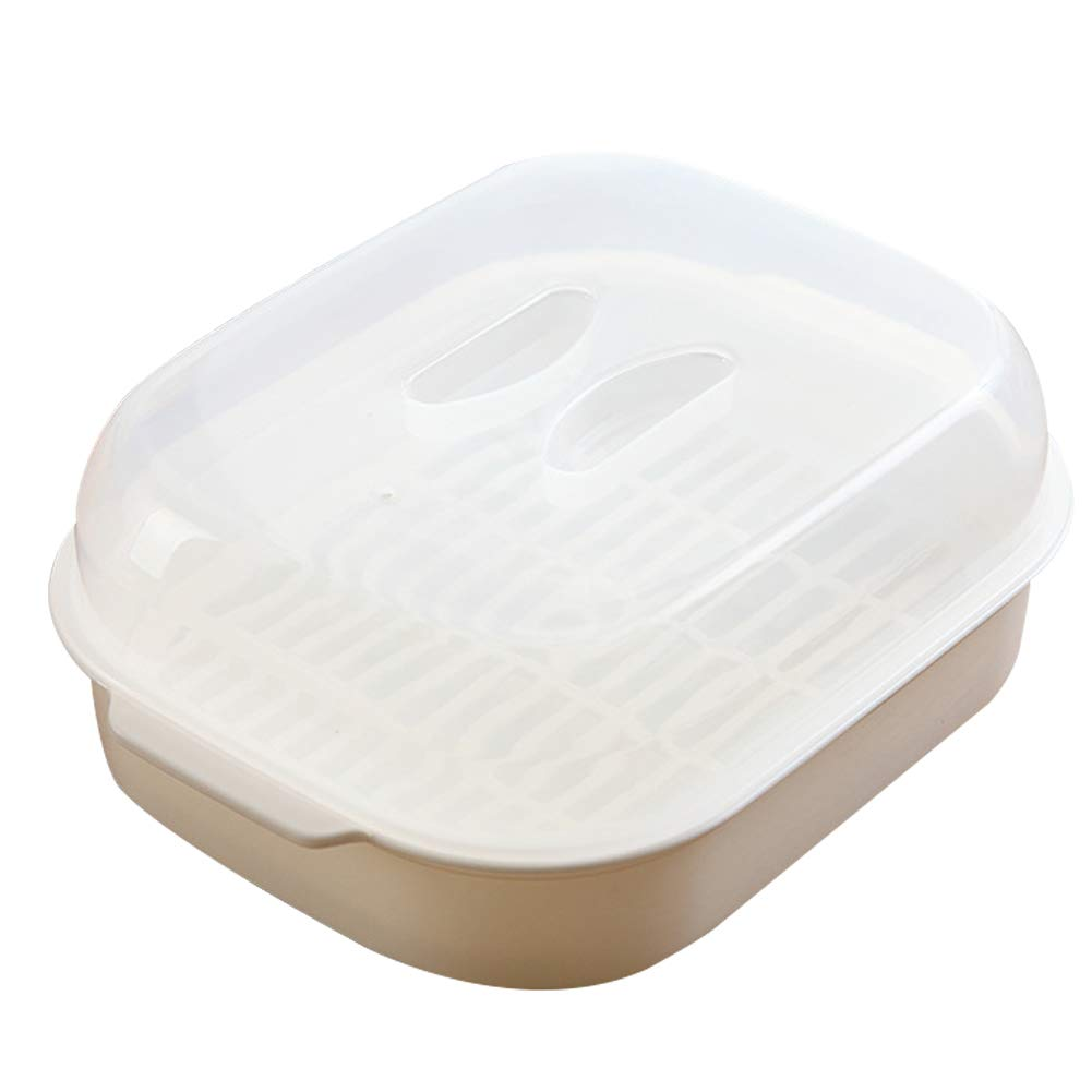 Microwave Oven Steamer Cook Container with Lid Plastic for Steamed Bread Bun Dumpling Fish Kitchen Utensil (White)