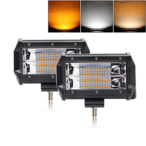 - LED Light Bar 5 inch Dual Color Strobe Lights Led Pods Amber Off-Road Lights Flash Lights Driving Fog Lights Yellow White Led Light Bar for SUV ATV Truck BraveWAY(9628BS-2)