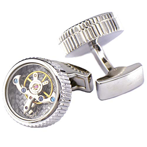 Pavaruni Original Cufflinks 50+Color Steam Punk Watch Movement Automatic Mechanical Vintage Novelty (Rotate4-Siliver(Glass))