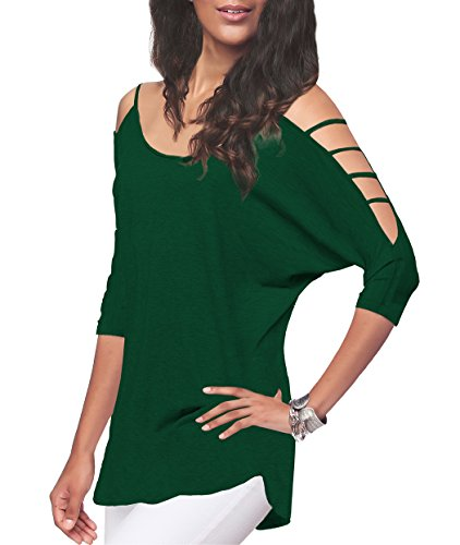 iGENJUN Women's Casual Loose Hollowed Out Shoulder Three Quarter Sleeve Shirts,L,Green
