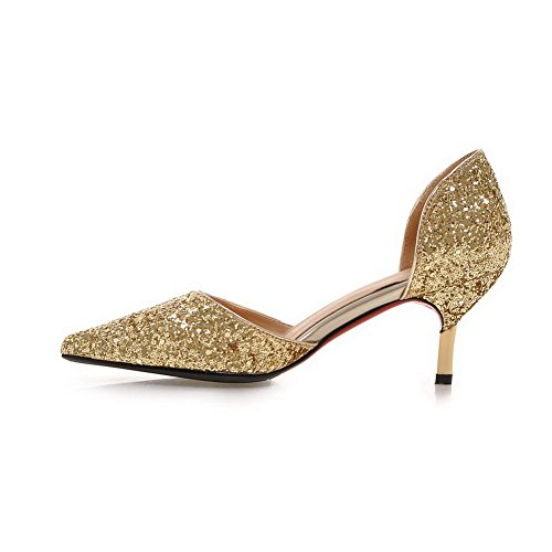 5 4 Sandals Shape MMS04170 Cut Cone Toe Pointed Gold Heel UK Sequin Low 1TO9 Uppers Womens wBaqUOp6