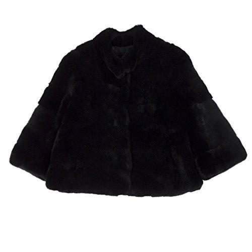 Fur Story Women's Genuine Rabbit Fur Coat Thick Warm Coat 3/4 Sleeve Stand up Collar US8 (Black) (Rabbit Fur Coat 3/4 Genuine)