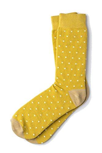 Men's Hipster Polka Dots Novelty Crew Dress Socks (Gold & White)