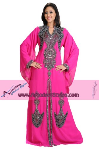 AModestStyles Women's Dubai Abaya Kaftan -Large Pink