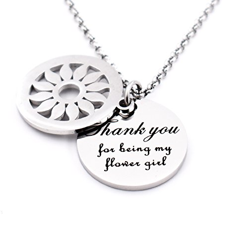 N.egret Thank You My Flower Girl Dad Girl Jewelry Mom &Daughter Necklace Pendant Christmas Gifts for Girl Teen -