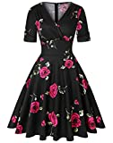 ROOSEY Women's Retro Dress, V Neck Swing Dress 50s Vintage Dress with Pockets