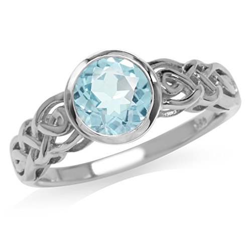 (1.61ct. Genuine Blue Topaz White Gold Plated 925 Sterling Silver Celtic Knot Solitaire Ring Size 7)