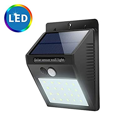 New Upgraded 20 LED Solar Lights Outdoor,Waterproof Motion Sensor Post Security Night Light for Patio Deck Yard Garden Auto On/Off
