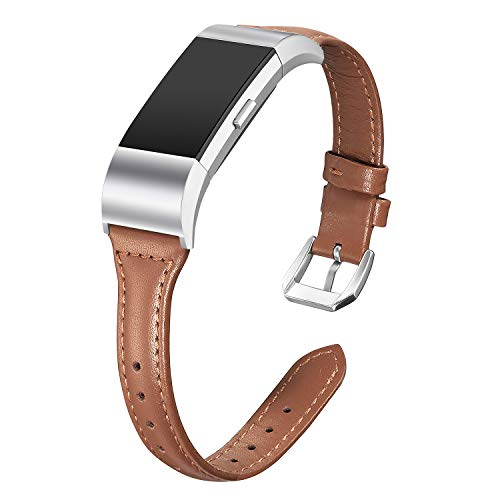 bayite Bands Compatible Fitbit Charge 2, Slim Genuine Leather Band Replacement Accessories Strap Charge2 Women Men, Brown Small