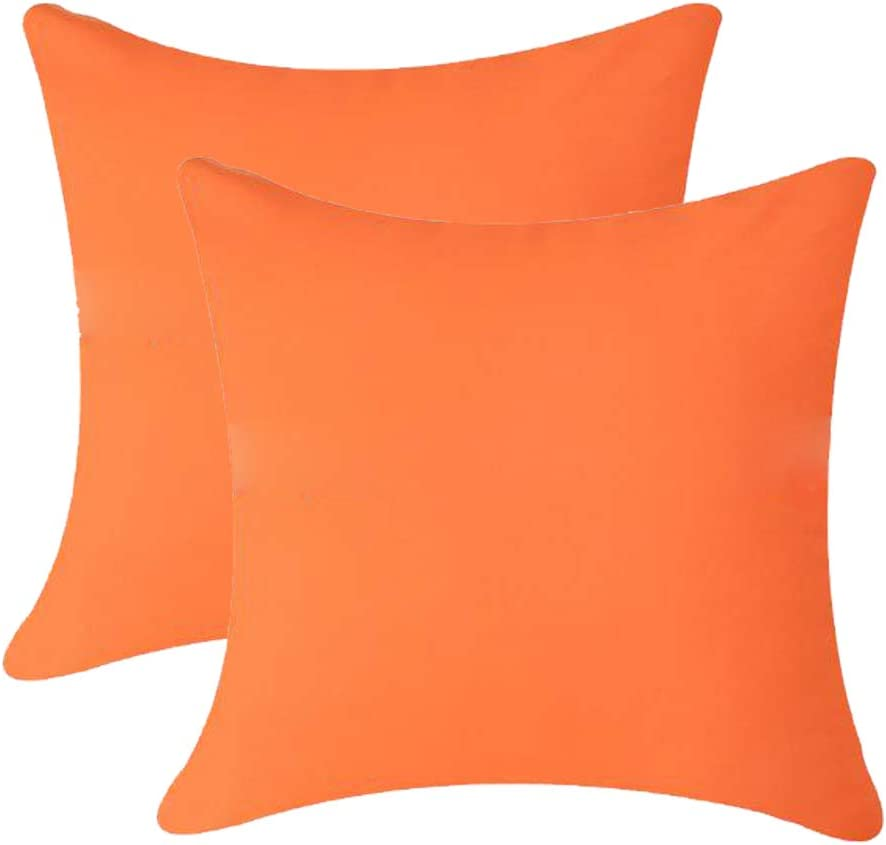 Andreannie Pack of 2 Outdoor Waterproof Decorative Throw Pillow Cover Cushion Case for Garden Tent Park Farmhouse Polyester Both Sides Square 18 x 18 inches (Orange)