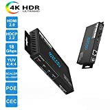 EZCOO 4K HDMI 2.0 Extender,HDBaseT Extender | Uncompressed 4K 60Hz 4:4:4 18G HDR HDCP 2.2 with 4K Down Scaler, 230ft 1080P, 130ft 4K via Single Cat5e/6a | Bi-directional PoE+IR, CEC, Dolby Atmos,DTS:X