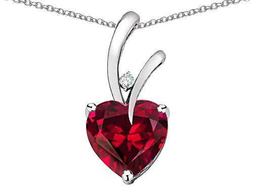 Star K Heart Shape 8mm Created Ruby Endless Love Pendant Necklace 10 kt White Gold by Star K