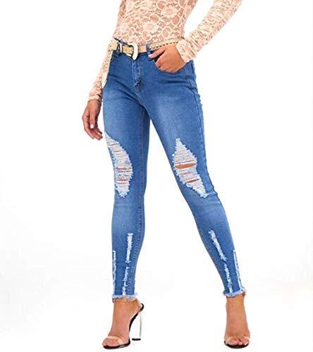 Azul Pantalones Stretch B De Con Fashion Denim Skinny Basic Hx Ripped Vaqueros Mujer SCOcxqw