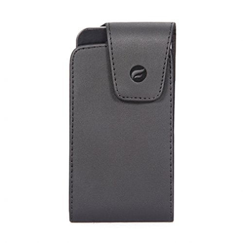 (Premium Black Vertical Leather Case Pouch Cover Holster with Swivel Belt Clip for AT&T LG Cookie KP500)