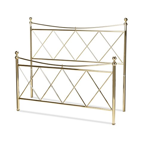 - Lennox Bed with Metal Duo Panels and Diamond Pattern Design, Classic Brass Finish, King