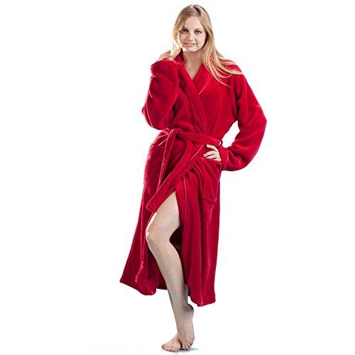 La Cera Women's Fleece Robe Plus Size 2X Red